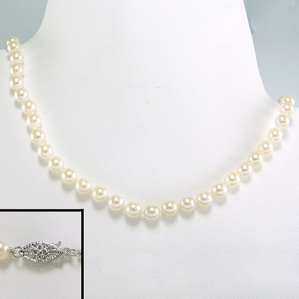51025: 10KT 5-5.5MM AKOYA PEARL NECKLACE 17""