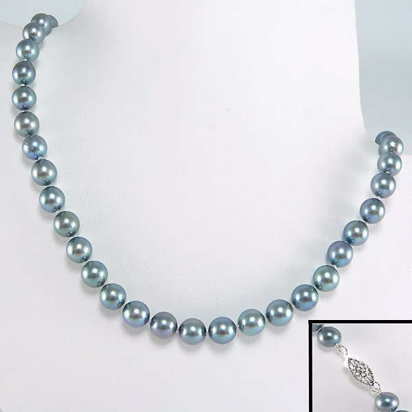 """11018: 1KT 6-6.5MM DYED AKOYA PEARL NECKLACE 18"""""""