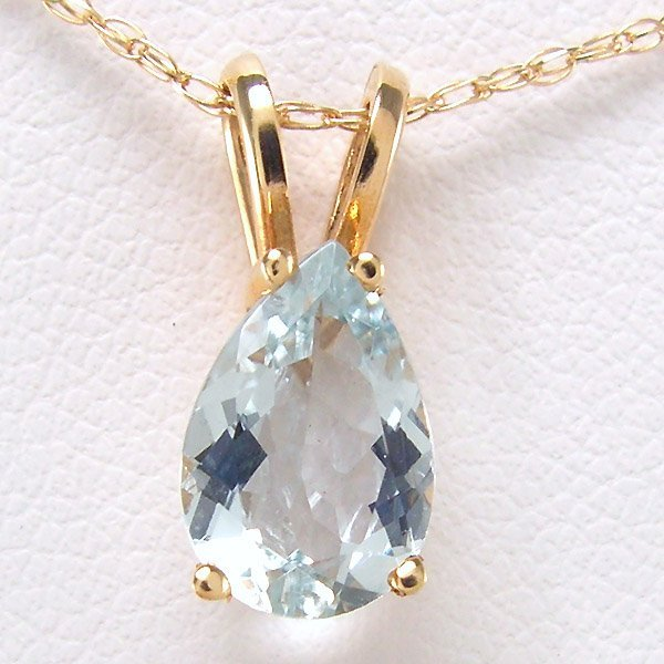 "11003: 14KT AQUAMARINE NECKLACE 1.19CTS 18"" 13X6MM"