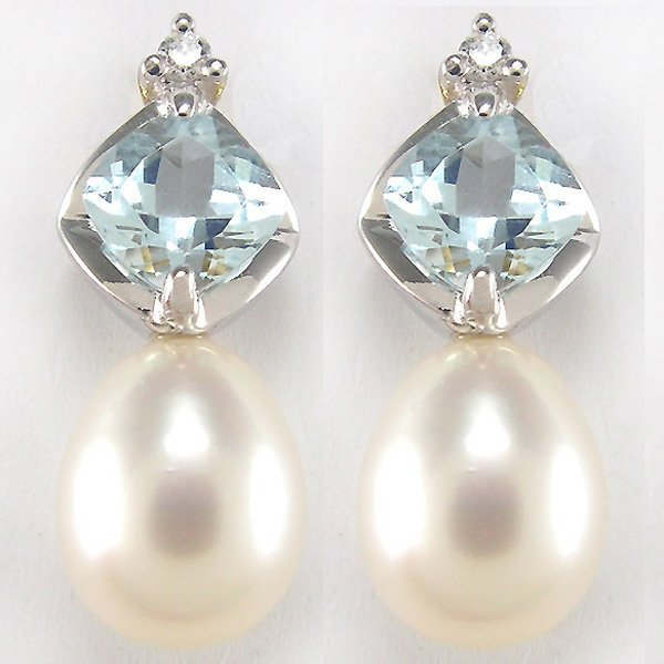 11012: 14KT AQUAMARINE DIA 6MM PEARL EARRINGS 0.61TCW