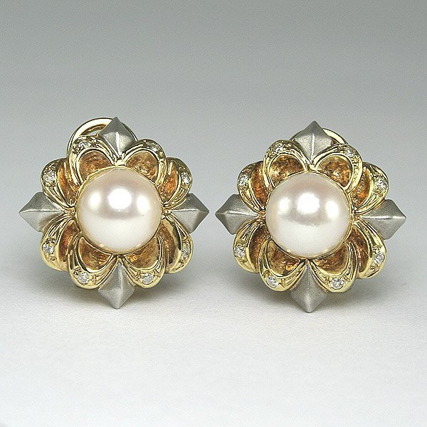 11021: 14KT DIAMOND PEARL FLOWER EARRINGS