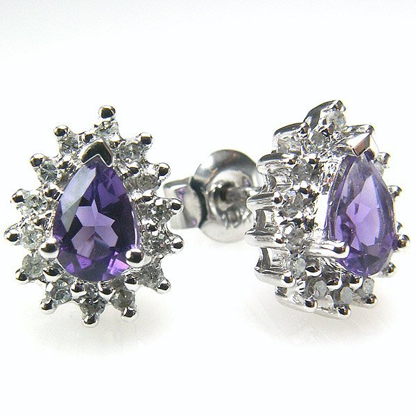 21059: 10KT DIA & AMETHYST STUD EARRINGS 0.91TCW
