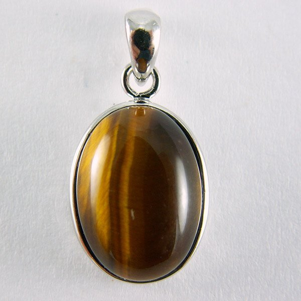 51020: TIGERS EYE OVAL PENDANT 15X10MM