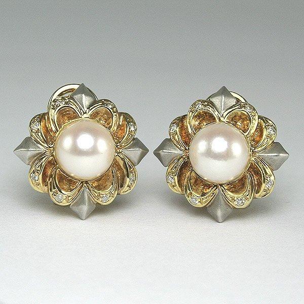 11021: 14KT DIAMOND PEARL FLOWER EARRINGS
