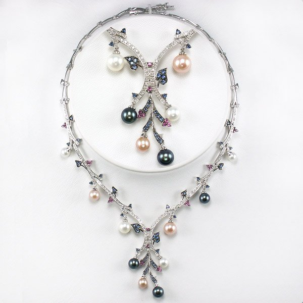 32059: 10KT SAPPHIRE PEARL DIAMOND NECKLACE 2.32TCW