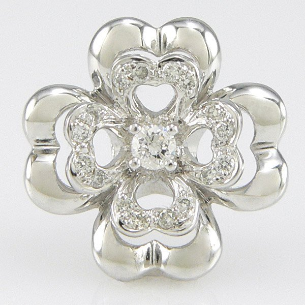 11021: 18KT WHITE GOLD DIAMOND FLOWER PENDANT 15MM