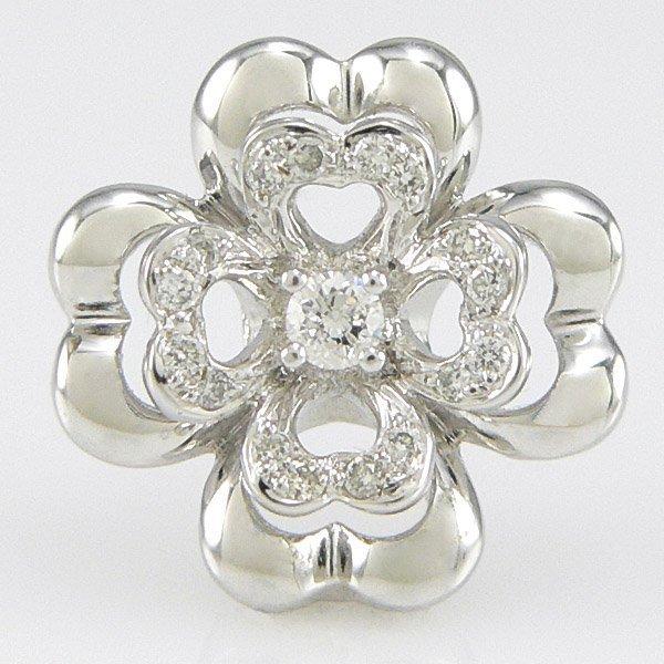 21021: 18KT WHITE GOLD DIAMOND FLOWER PENDANT 15MM