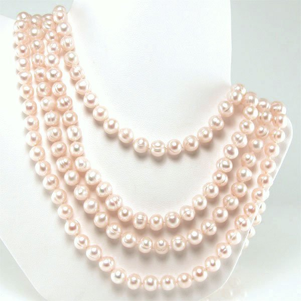 31002: 6-7.5MM FRESHWATER ENDLESS PEACH PEARL NCKL 100I
