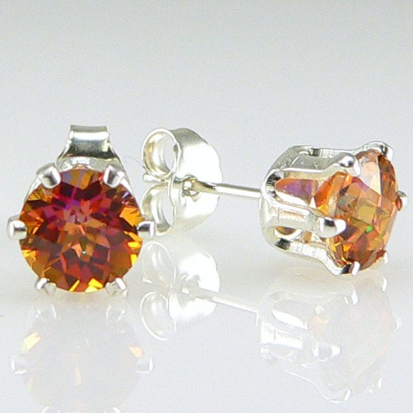 21026: SS AZOTIC TOPAZ STUD EARRINGS 6MM