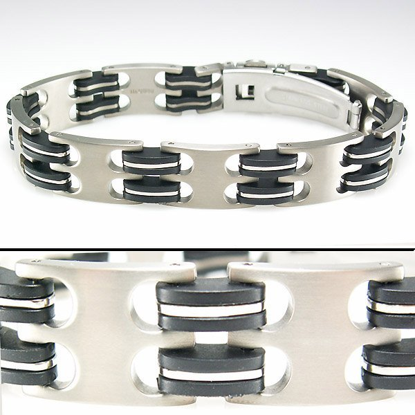 31006: STAINLESS STEEL DIAMOND MEN'S LINK BRACELET 8""