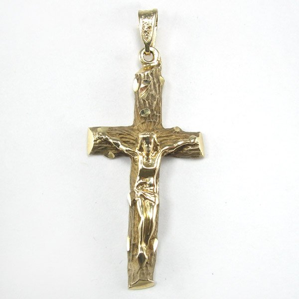 31010: 14KT GOLD CRUCIFIX PENDANT 50X20MM