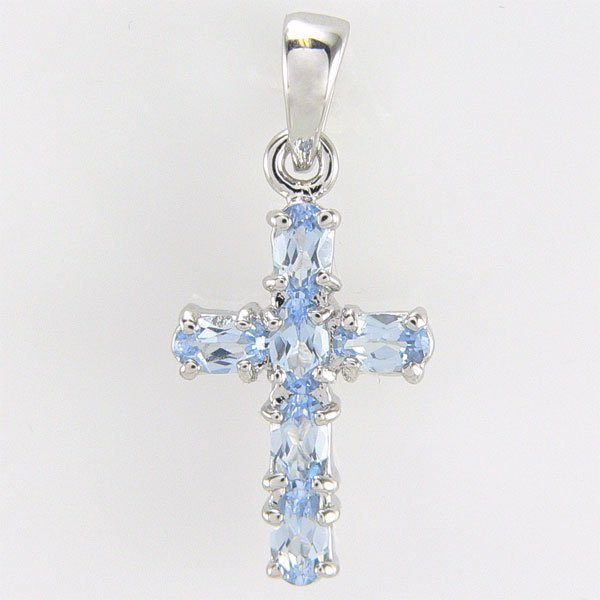 31023: SS BLUE TOPAZ CROSS PENDANT 30X13MM