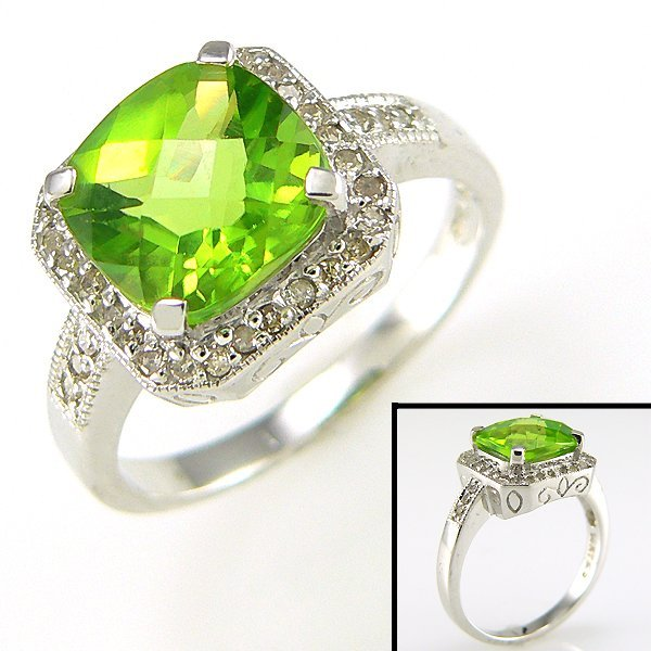 41020: 14KT DIA PERIDOT-9MM RING SZ 7