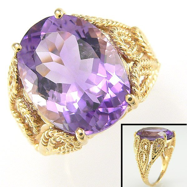 42377: 10KY AMYETHYST-16X12MM RING SZ 7.25