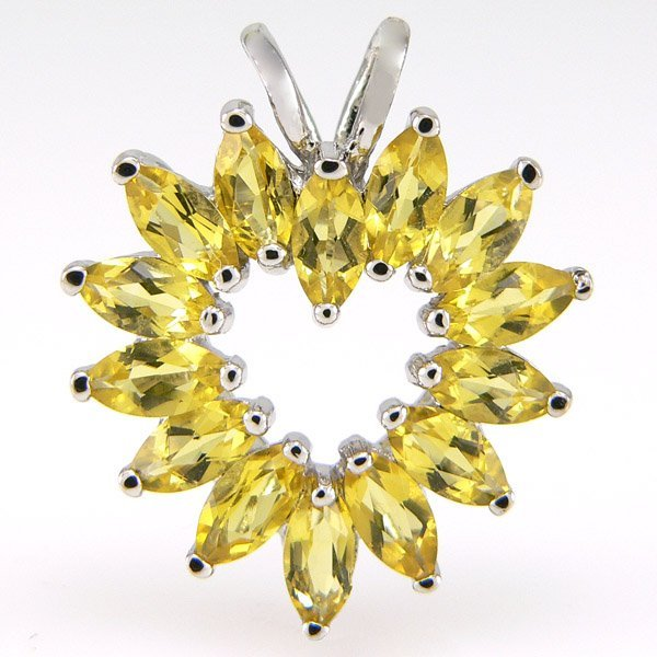11030: SS MARQUIS CITRINE PENDANT 25X21MM