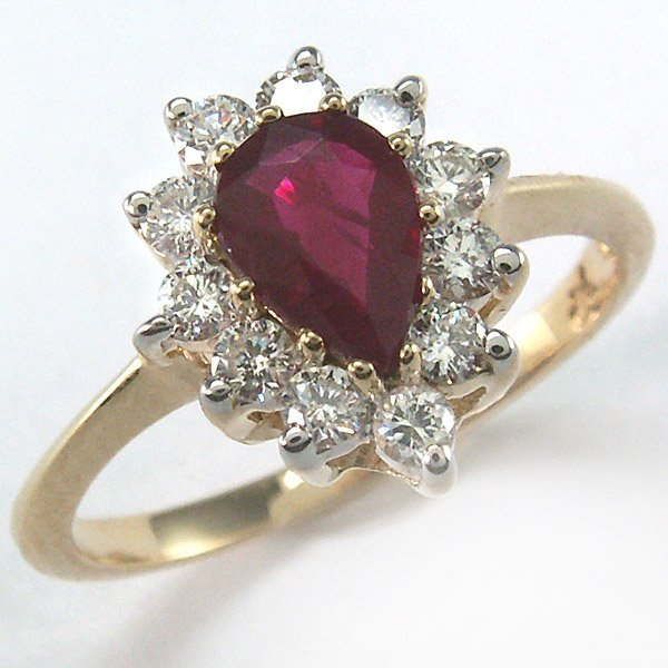 21538: 14KT DIA 0.44CTS & RUBY 0.875CT RING 6.5