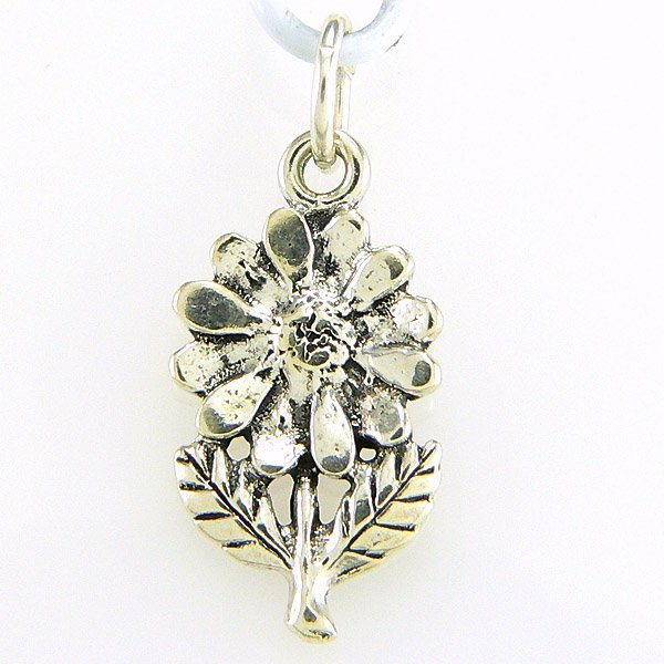 12367: WINDSOR-STERLING FLOWER W/ STEM/LEAF CHARM .925