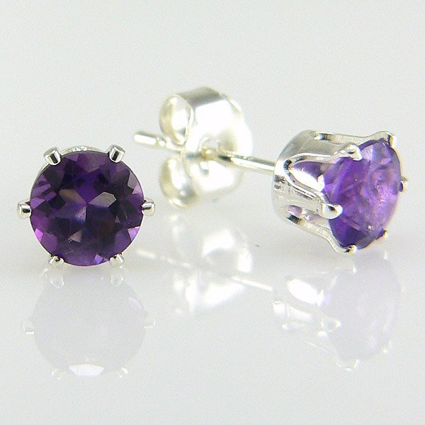 41019: SS ROUND AMETHYST STUD EARRINGS 5MM