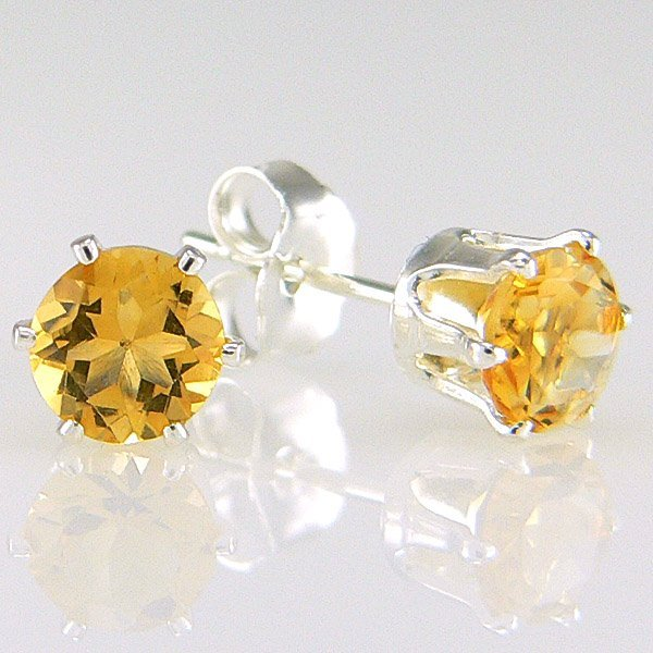 11021: SS ROUND CITRINE STUD EARRINGS 5MM
