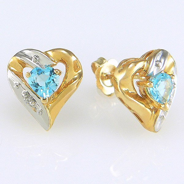 41024: 10KT TT DIA BL TOPAZ HEART STUD EARRINGS 10X10MM
