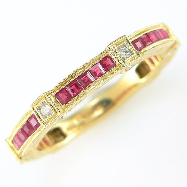 51005: 14KT DIA AND RUBY RING - SZ10.25