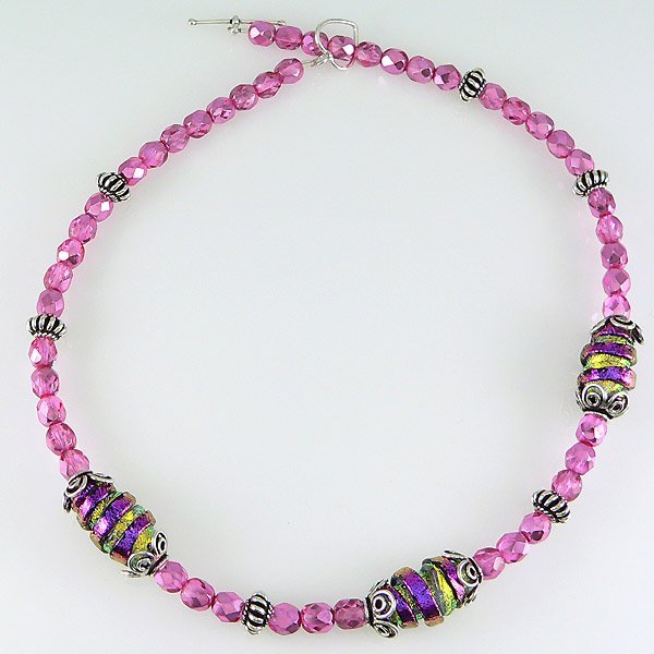 """21010: WINDSOR STERLING-16"""" PK DICHROIC GLASS TOGGLE NK"""