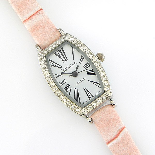 61013: ANDRE FRANCOIS PEACH CRYSTAL FACE FASHION WATCH