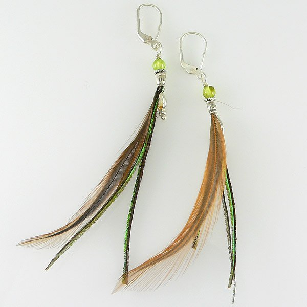61022: FEATHER PERIDOT & CITRINE EARRINGS