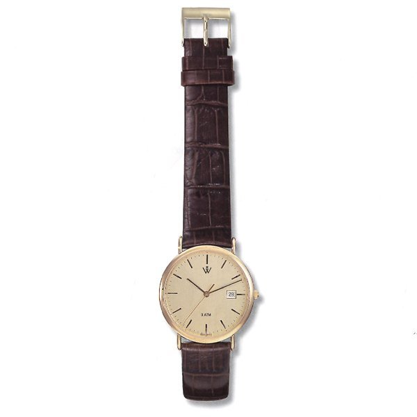21021: Mens 5th Ave. S-Steel - Leather Watch