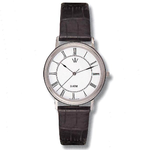 21082: Mens 5th Ave. S-Steel and Leather Automatic