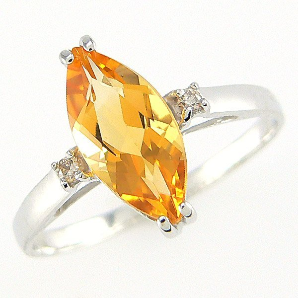 41018: 14KW DIA CITRINE-11X6MM RING SZ 7