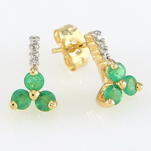 22196: 14KY DIA EMERALD-3MM STUD EARRINGS