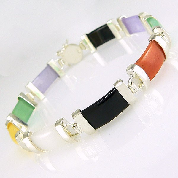 "21006: WINDSOR STERLING 7"" MULTICOLOR JADE BLACK ONYX S"