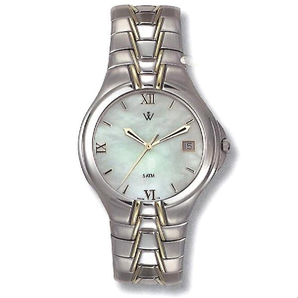 32569: Windsor Sterling Mens Steel MOP Watch