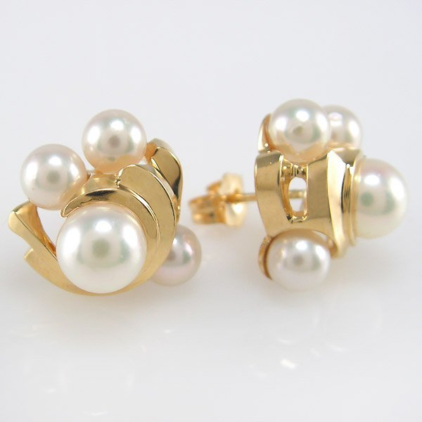 11012: 14KT 4-6MM PEARL STUD EARRINGS 16X15MM