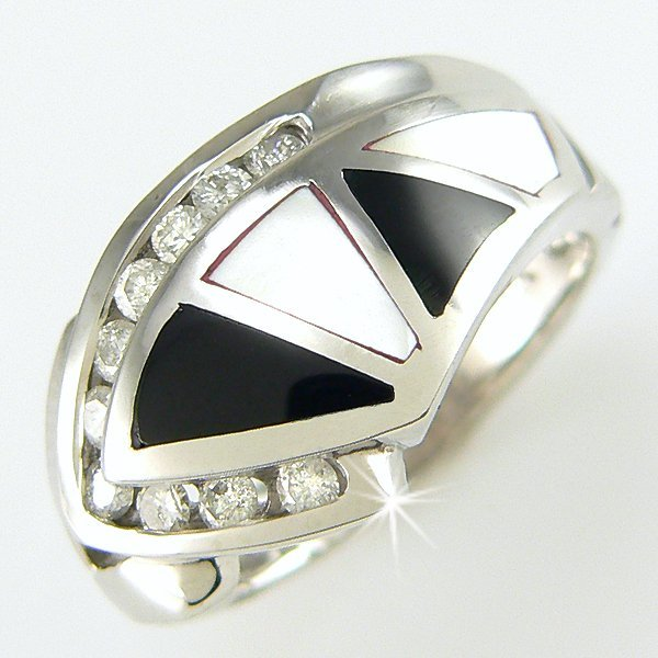 11147: 14KW ONYX MOP & DIAMOND RING 0.33CT SZ 7