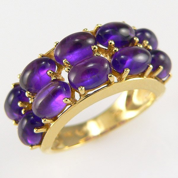 11226: 14KY CABOCHON AMETHYST-6X4MM RING SZ 6.5