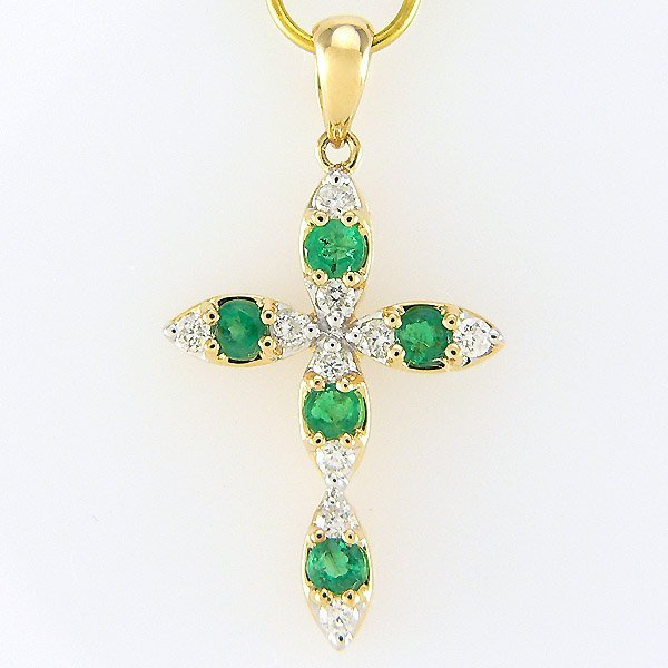 51688: 14KY DIA EMERALD-2MM CROSS PENDANT 30X15MM
