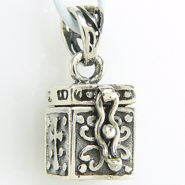 11030: WINDSOR STERLING PRAYER BOX CHARM W/ ICHTHYS/CRO