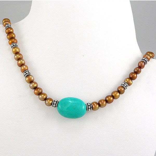 34261: WINDSOR STERLING GOLD CFWP TURQUOISE NECKLACE