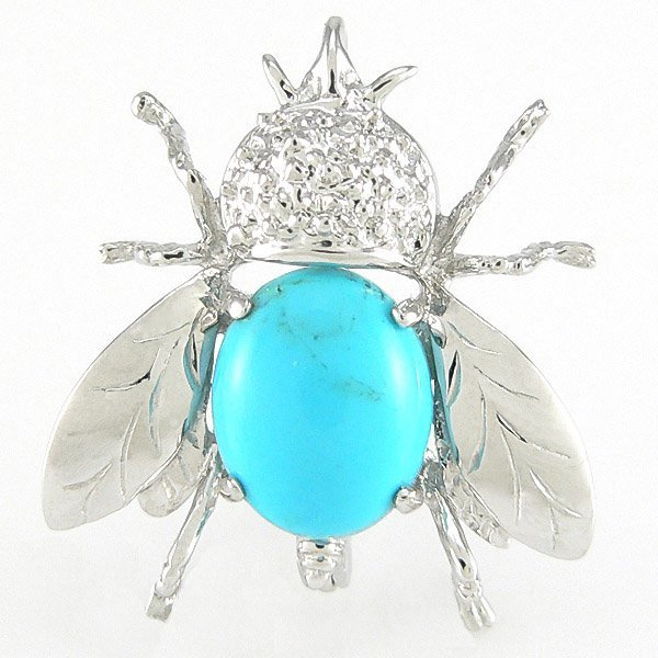 1226: 14KT 8X10MM TURQUOISE FLY PIN 2.86GM