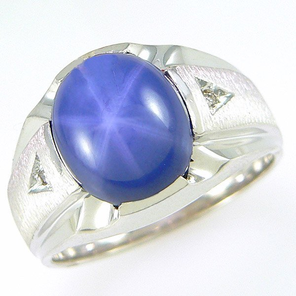 4029: 14KT MEN'S DIA STAR SAPH RING SZ 9.5 4.82TCW