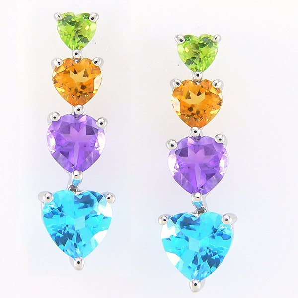 4030: 14KT MULTI-GEM EARRINGS 5.77TCW