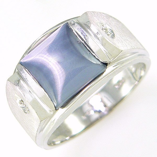 4035: 14KT MEN'S DIA CAT'S EYE RING SZ 10 2.60TCW
