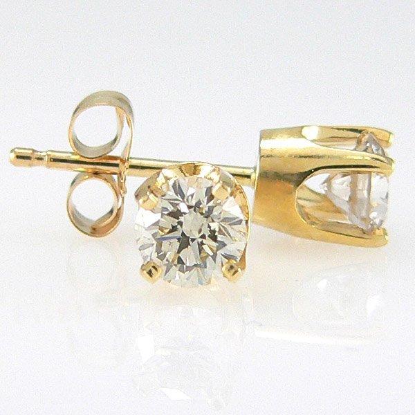 1412: 14KT DIAMOND STUD EARRINGS 0.56CT 4MM