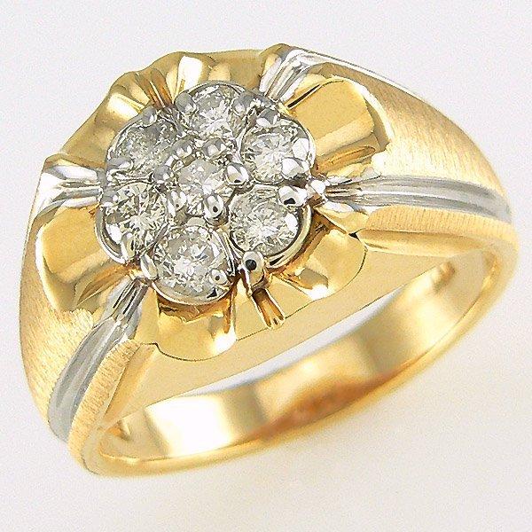 22219: 14KT MENS DIAMOND RING SZ 10 0.80CW