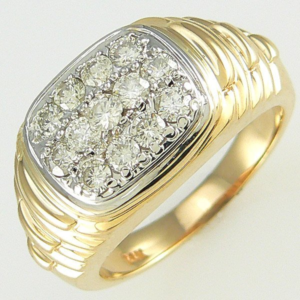 21691: 14KT MEN'S DIAMOND RING SZ 10 1.30TCW