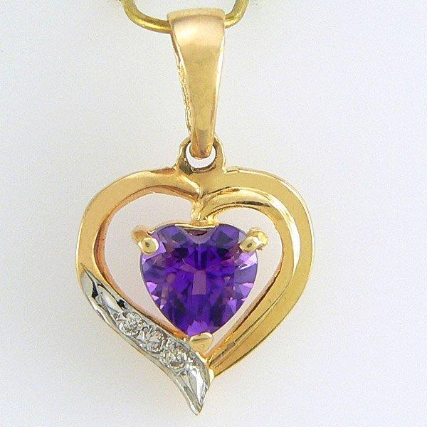 1011: 14KT DIAMOND AMETHYST HEART CUT PENDANT 0.70TCW