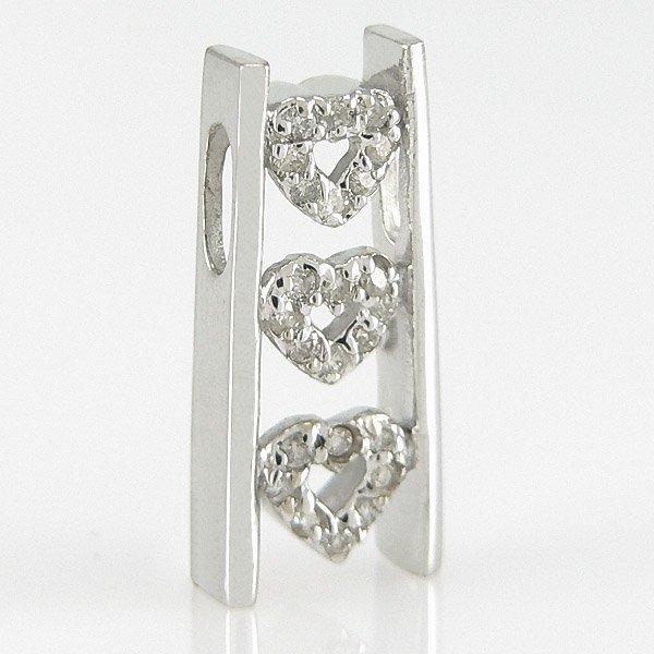1022: 14KT DIAMOND HEART PENDANT 0.18TCW 18X8MM