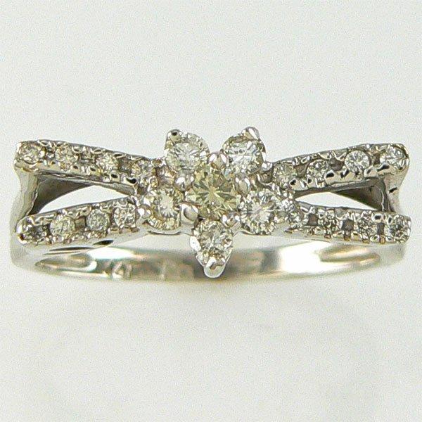 3019: 14KT DIAMOND FLOWER RING 0.40CTS SZ 7